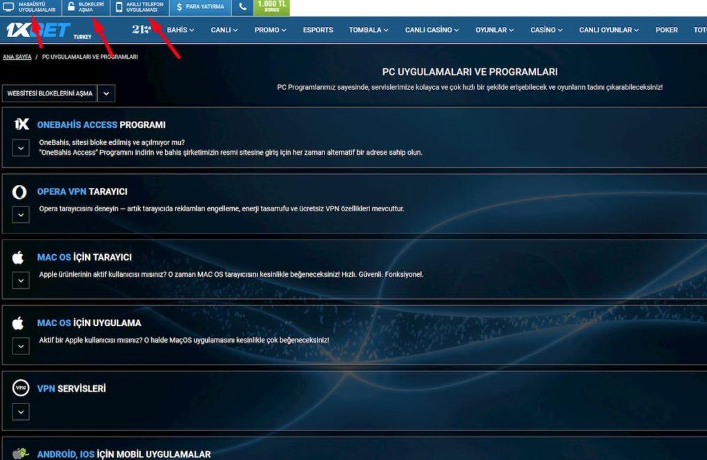 1xbet - PC uygulamaları ve programları